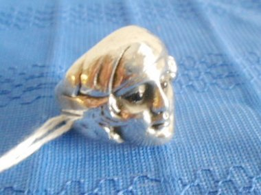 "1001: 1930s Sterling Silver ""Mystic Ring"" Glass Eyes,"