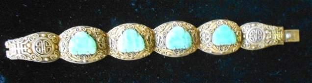 1002 Burmese Buddha Bracelet 800 Silver  Jade