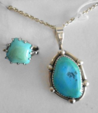 1003: 2 pc Sterling & Turquoise ring & pendant on chain