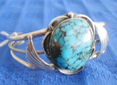 1004: Sterling Silver & Turquoise Hand made Bracelet