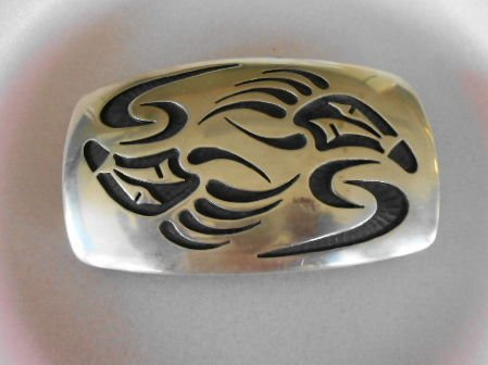 "1000: Zuni ""Bearclaw"" Sterling Silver Belt Buckle"