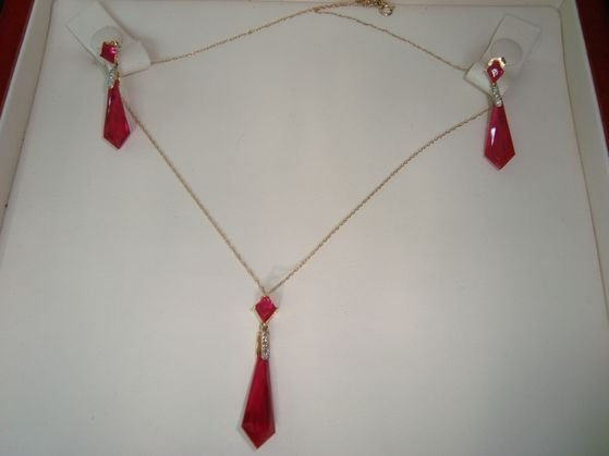 1011: 10K Gold, Diamond & Red Stone necklace & earrings