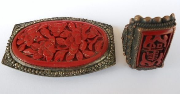 1000A: Chinese Cinnabar Brooch & Ring, c. 1920s