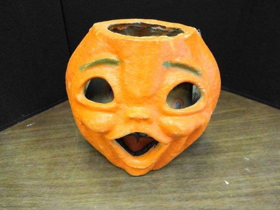 1000: Paper Mache Double Face Jack O Lantern Halloween