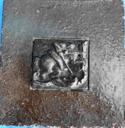 1015: Merkl Baukeramik Tile Framed Bronze Plaque