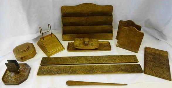 "1018A: Tiffany Studios ""Zodiac"" Bronze 12 pc. Desk Set"