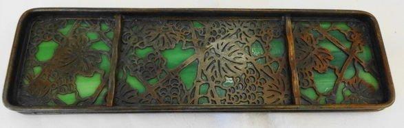 "1018B: Tiffany Studios ""Grapevine"" Bronze  Pen Tray"