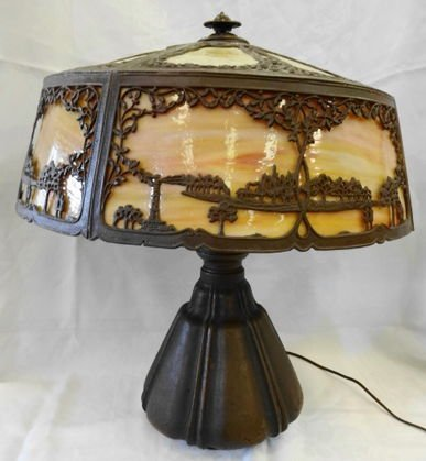 1010A: Bradley & Hubbard Table Lamp, signed base