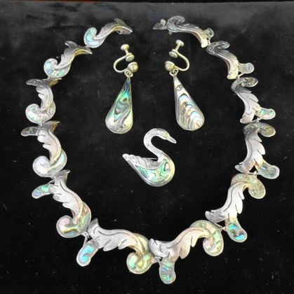 1002: Mexican 3 Pc. Sterling & Abalone Jewelry