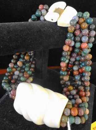 1005: Patricia Von Musulin Ivory & Stone Necklace