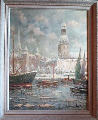 """1023: Russian Impressionist Painting, """"Riga"""", signed"""