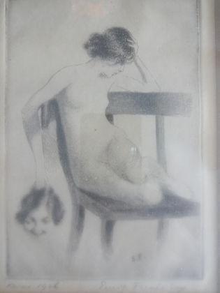 1024: Ernst Fuchs(Austrian 1930) Etching Seated Nude