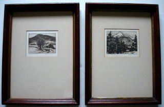 1026: Frederick Robbins Etchings, (2), New Hampshire