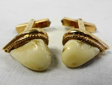 1006: 14k Gold Cufflinks with Elk's Teeth