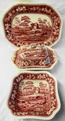 1017: Spode Pink Towers Serving Pieces