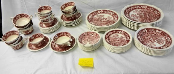 1018: Spode Pink Tower 72 pc. Service for 8
