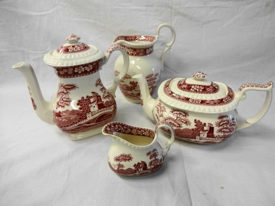 1019: Spode Pink Towers 4 pc Holloware