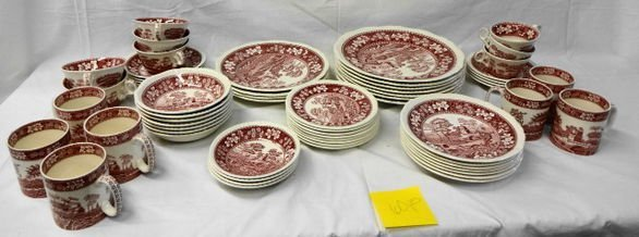 1020: Spode Pink Towers 60 pc Service