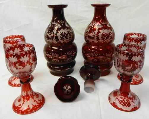 1021: 19th C Bohemian Glass Decanters & Rummers
