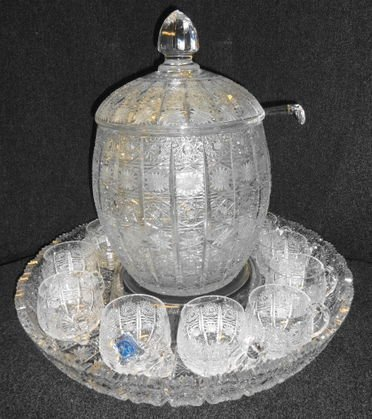 1023: Czech Brilliant Cut Crystal Punch Set