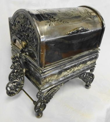 1009: 19th c Mechanical Silverplate Jewelry Casket