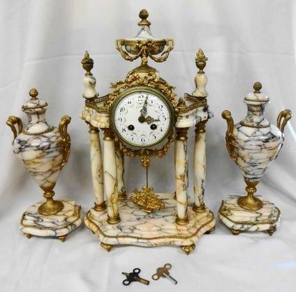 1006: L. Leroy,  c.1900, Bronze/Marble Clock Garniture
