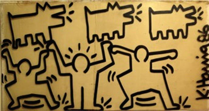 1029: Keith Haring Painting on Found Object 1986 Signed