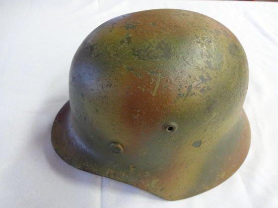 1052: WW2 Nazi German Camo Helmet, leather lined