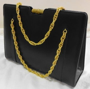 1002: Lederer Black Leather Handbag, like new, original
