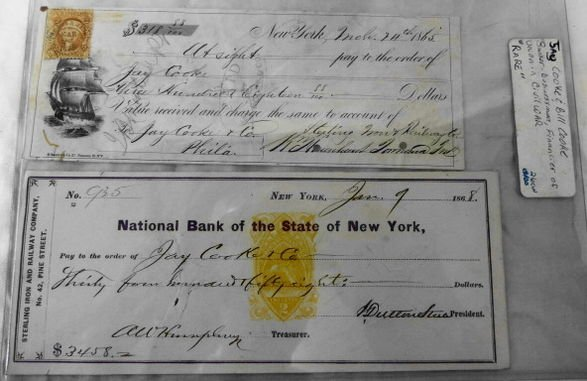 1012B: Civil War Era Bank Note & Cheque to Jay Cooke