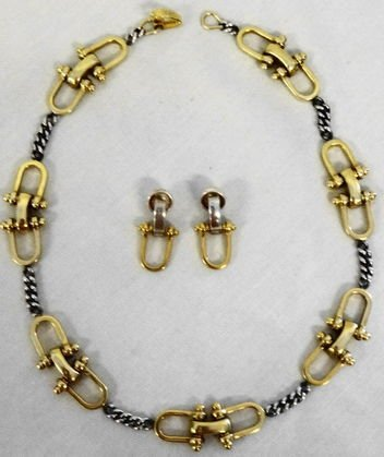 1002A: Tane Sterling & 18k Gold Wash Necklace & Earring