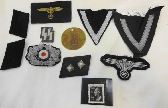 WW2 German SS Lot Patches, Tabs, Tag