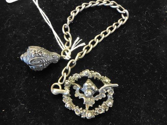 800 Silver Victorian Watch Fob, Cherub Face