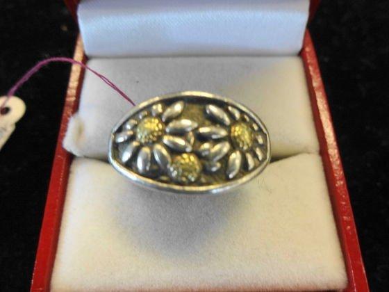 Ann King Sterling & 18k Gold Floral Ring