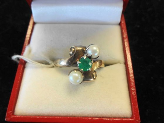 Emerald & Pearl Ring, Sterling & 10k Gold