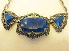 Sterling Lapis  Marcasite Necklace