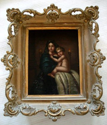 19th C Italian  Old Master  Painting, Mother & Child