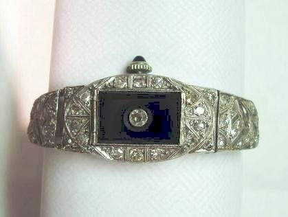 Art Deco Platinum, Diamond & Onyx Lady's Watch