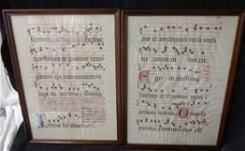Antiphonal Illuminated Manuscript Leaves 2 Works
