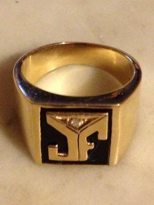 14k Gold, Onyx & Diamond Ring, 18.4 grams