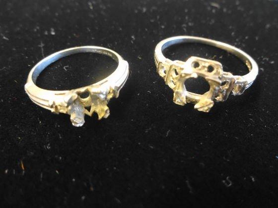 2 Antique Platinum Ring Settings, 4.9 dwt.