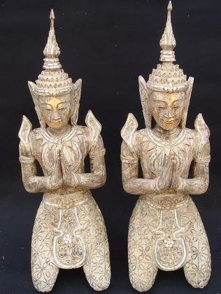 Pair of 19th C Burmese Temple Guardians