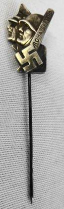 WW2 German Italian Alliance Stick Pin 800 Silver