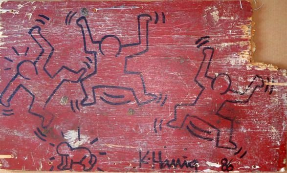 Keith Haring Painting on Found Object