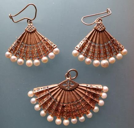 Antique Gold & Pearl Earrings, Matching Pendant