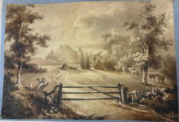 19th Century Watercolor Landscape with Cows
