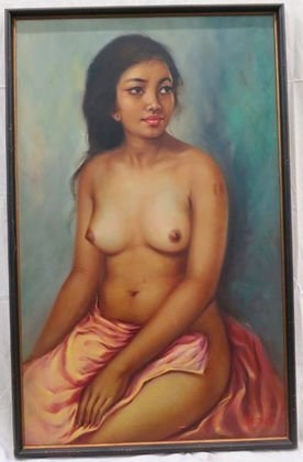 "M. Ruiz ""Nude Woman"" Oil Painting"