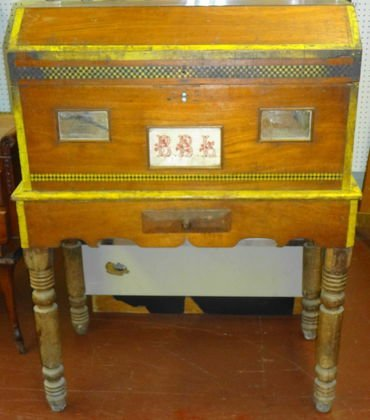Folk Art Painted Trunk on Stand
