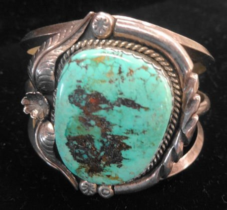 Old Pawn Turquoise Bracelet, Signed  A C