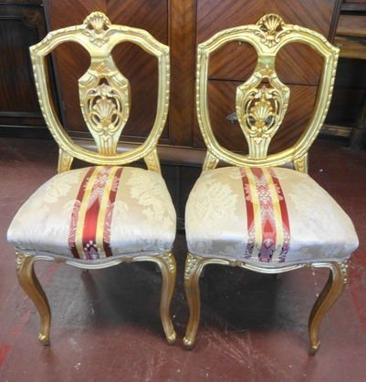 Pair of Gilded French Style Decorator Boudoir Chairs